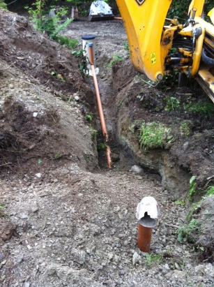 Septic tank buried